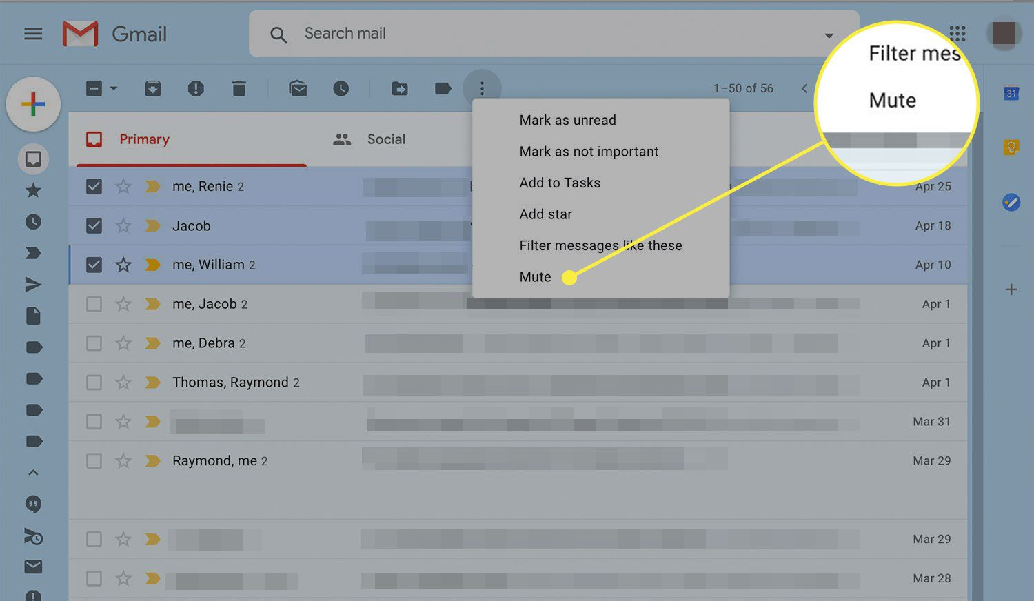 Gmail's More Options menu with the Mute option highlighted