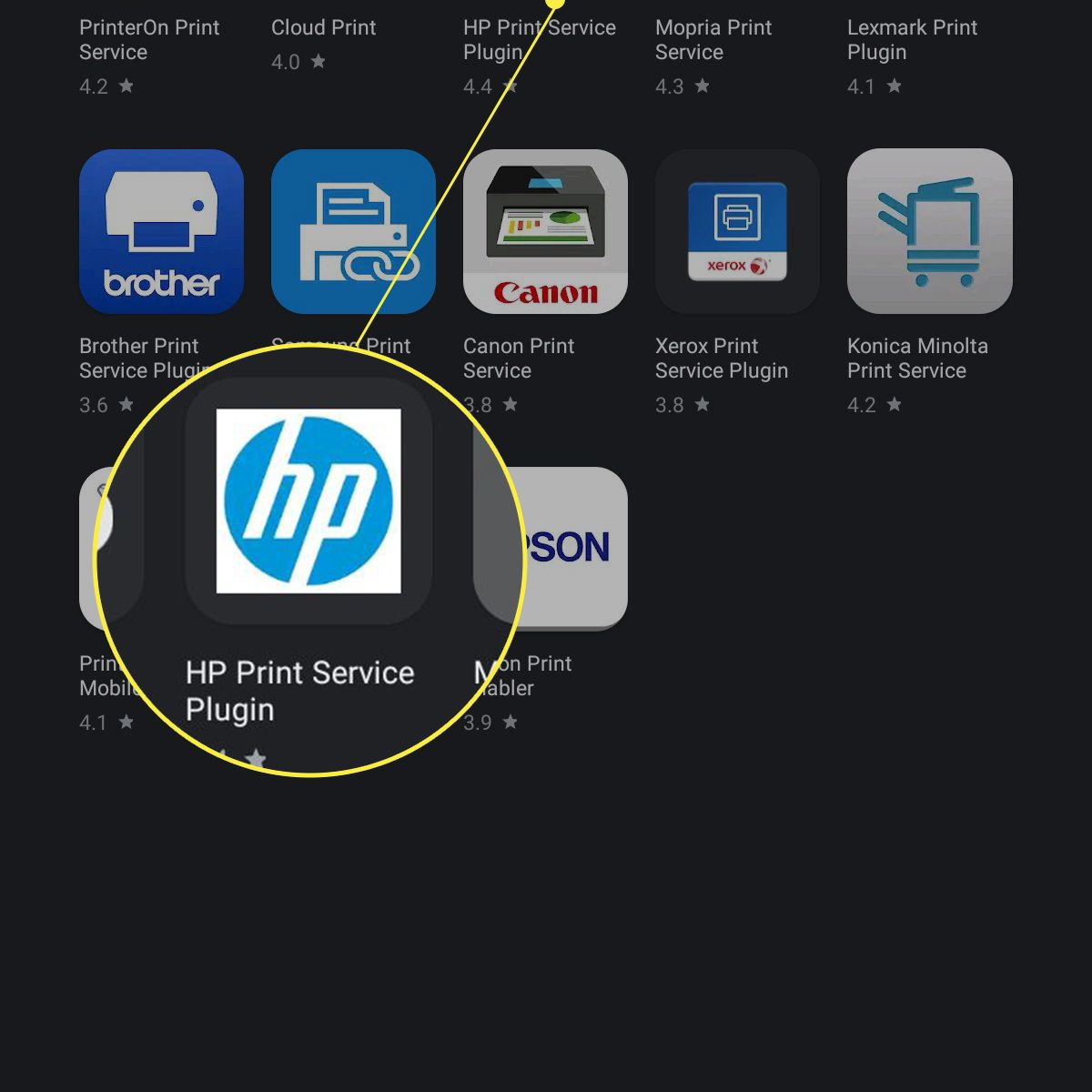 Samsung tablet select printer plugin at Google Play store with the HP plugin highlighted