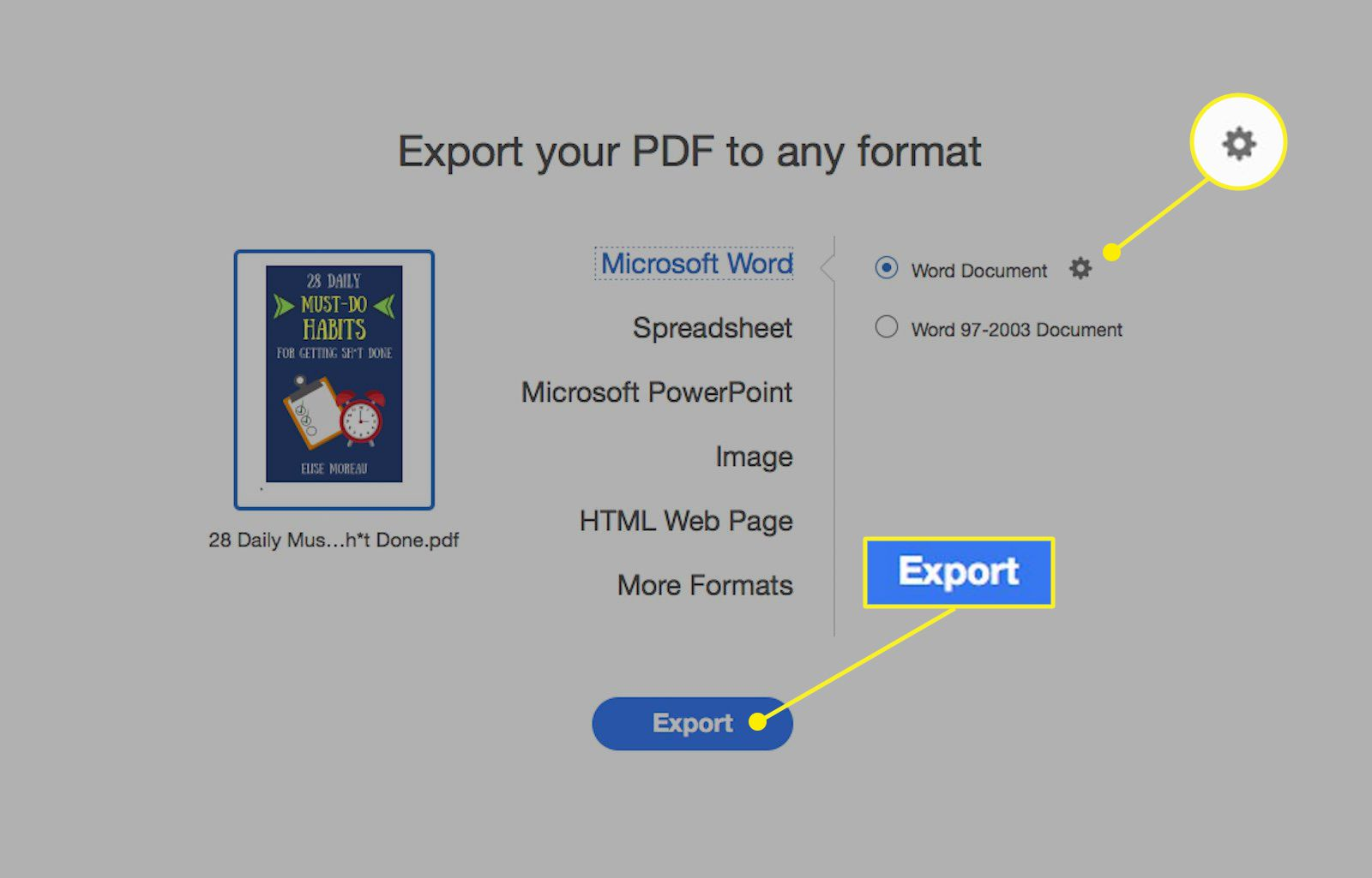 Acrobat Pro DC export PDF to Word screen