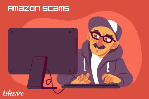 A conceptual illustration of an Amazon scammer.
