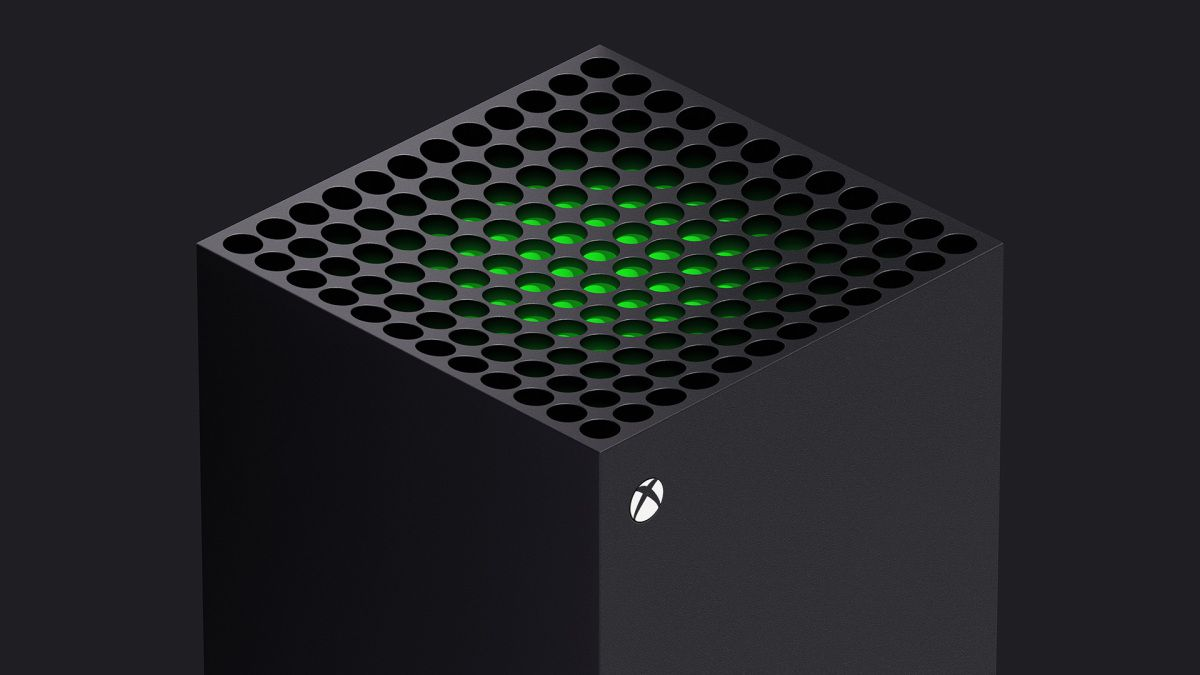 Isometric view of the top of the Xbox Series X