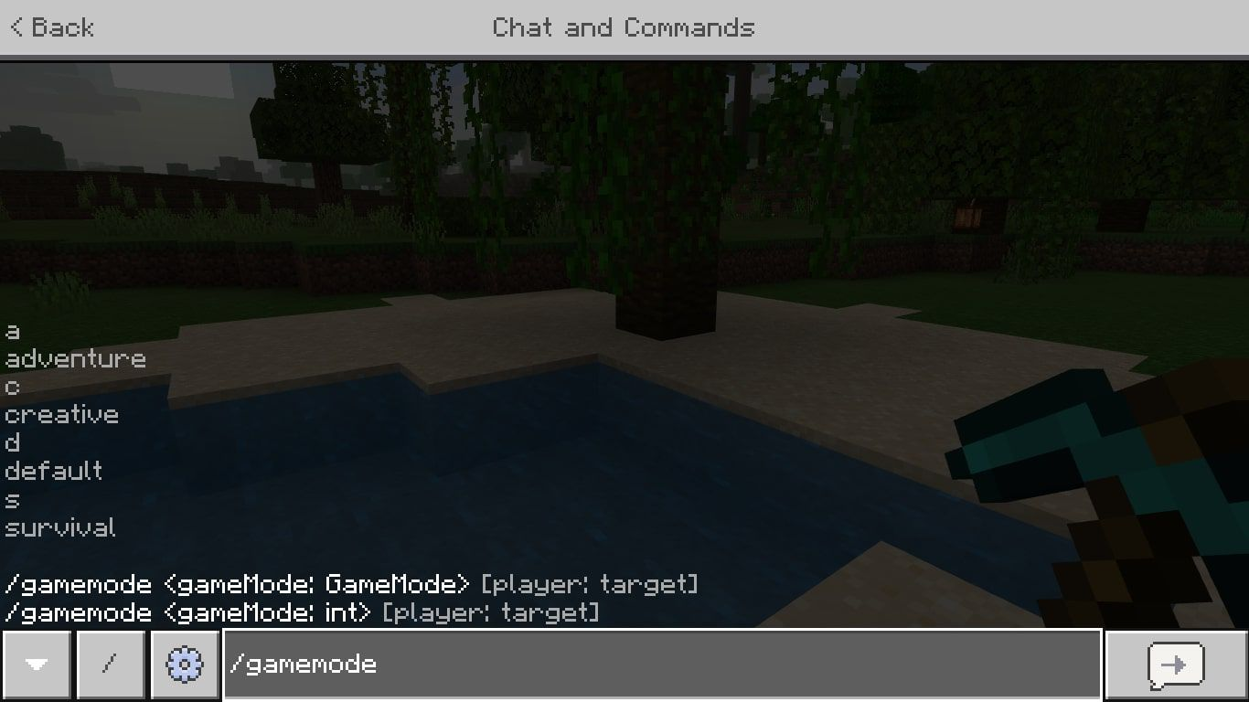 /gamemode in Minecraft the chat window