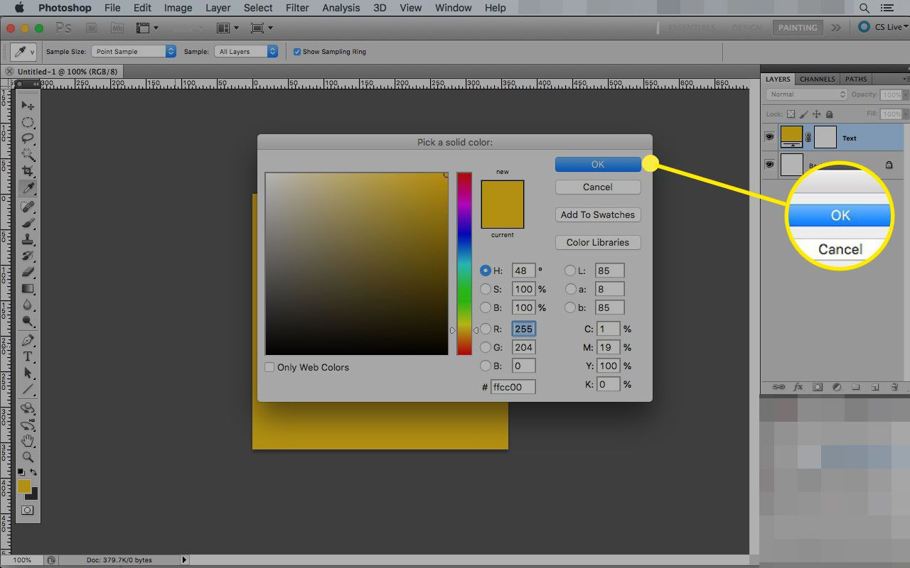 Color selection window in Photoshop with the OK button highlighted