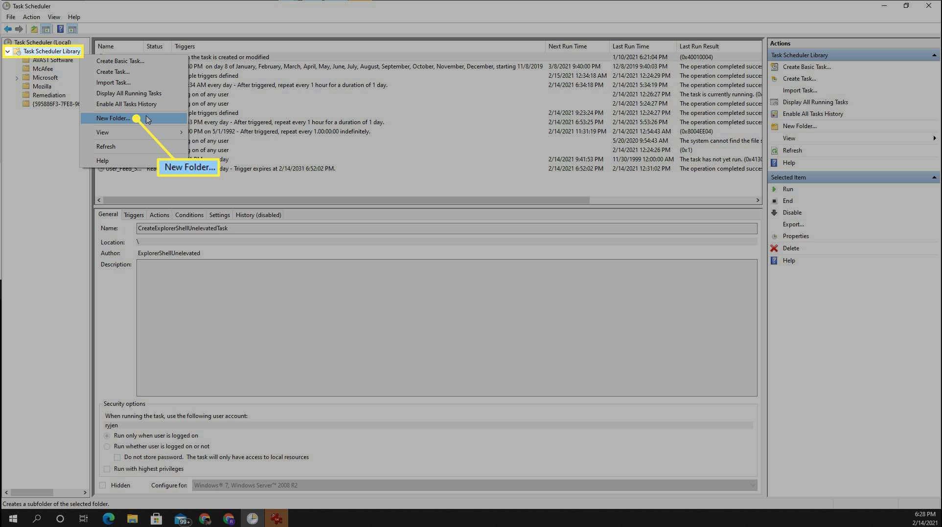 Creating a new task folder in Task Scheduler in Windows 10.