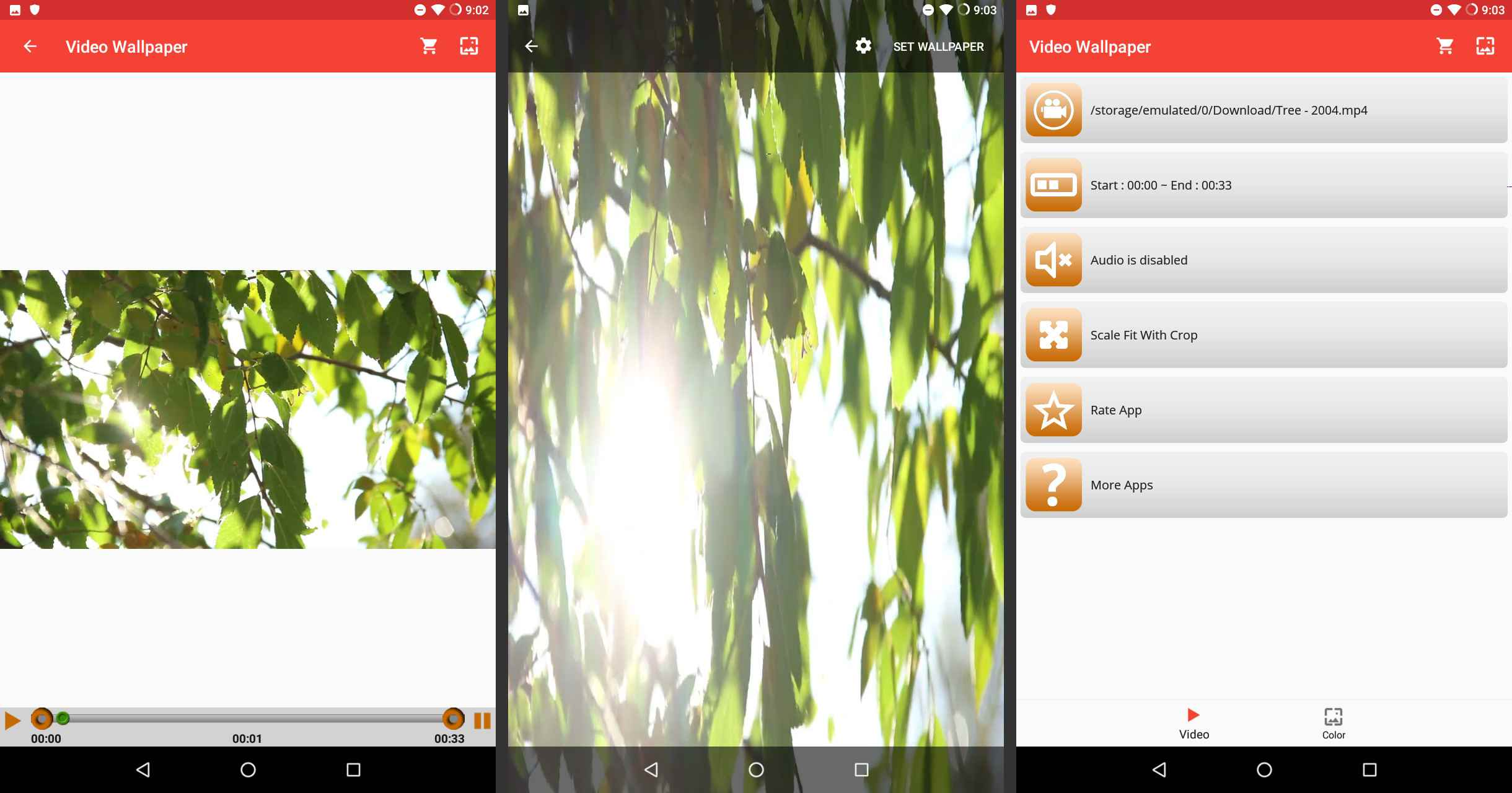 Android Video Live Wallpaper change video settings