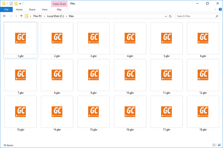 Screenshot of several GBR files in Windows 10