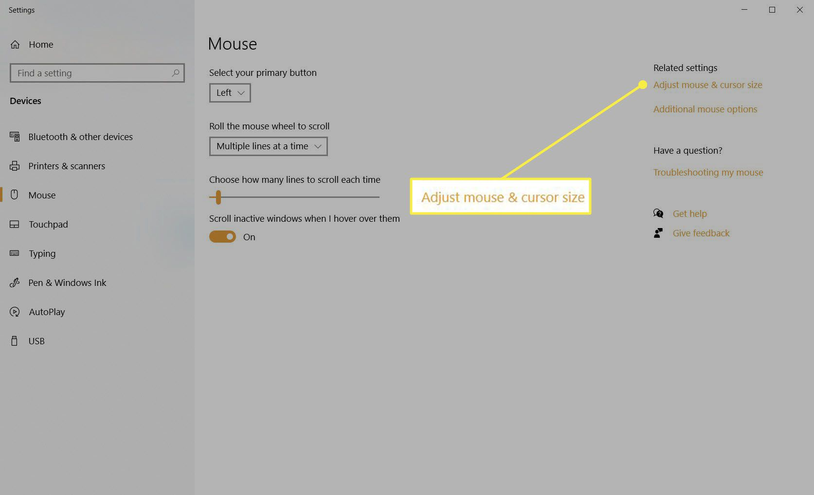 Adjust mouse and cursor size