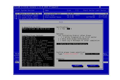 Screenshot of the KillDisk Boot Disk preparing to wipe a hard drive
