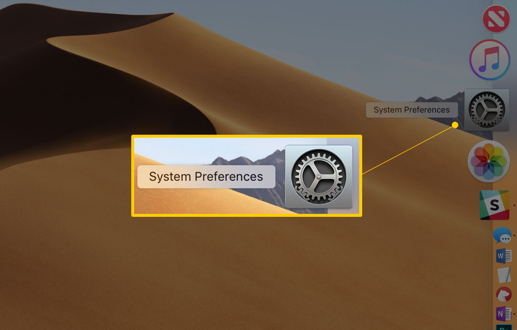 System Preferences icon in the Dock