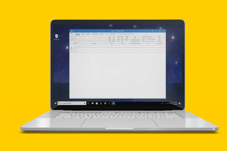 Outlook open on Windows 10 laptop