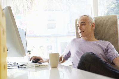 Home-based busines owner at computer