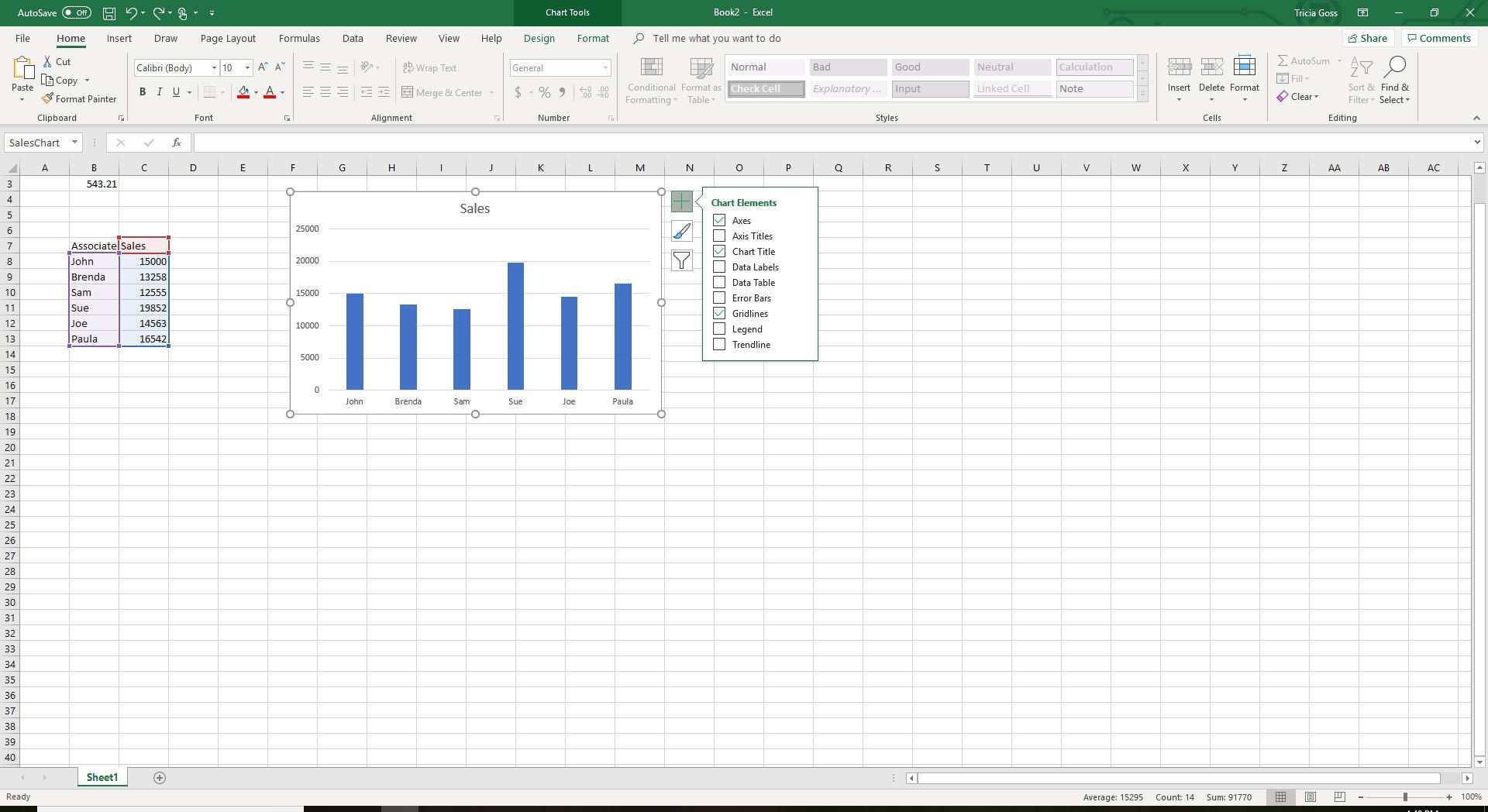 Screenshot of Chart Elements menu