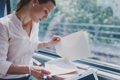Business owner working on a document