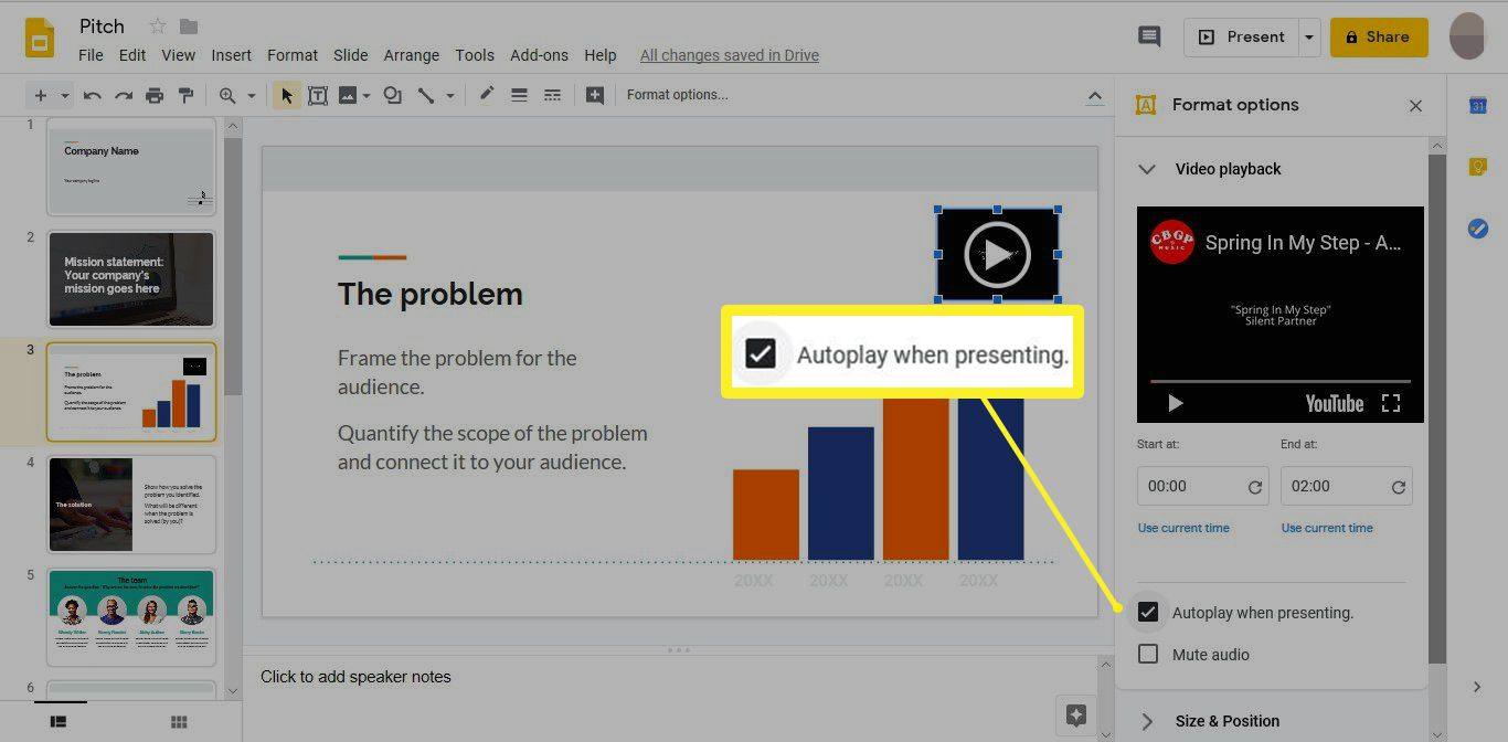 Autoplay when presenting option in Google Slides