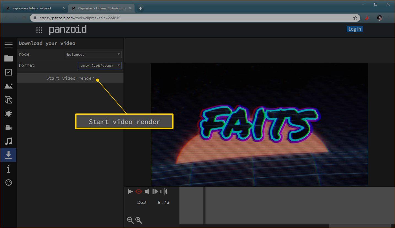 Start video render button in Panzoid