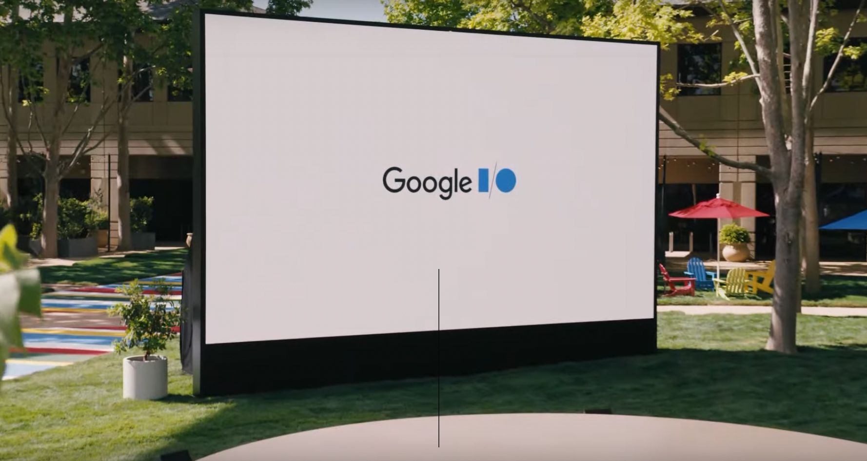 Google I/O opening intro logo on projector screen