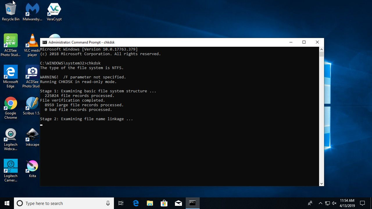 Chkdsk run successfully on Windows 10