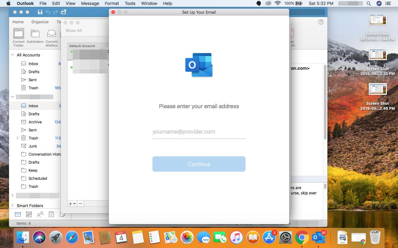 Entering in Outlook.com account in Outlook for Mac.