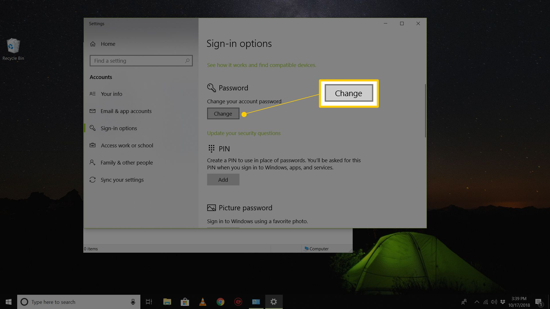 how to get rid of password sign in windows 10