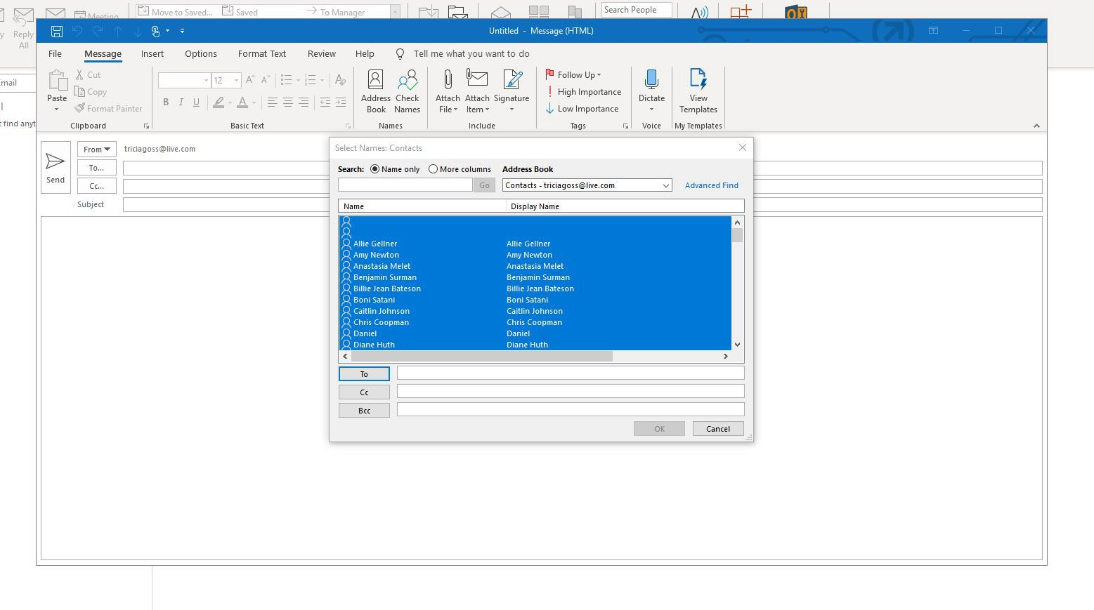 Screenshots showing all contacts selected