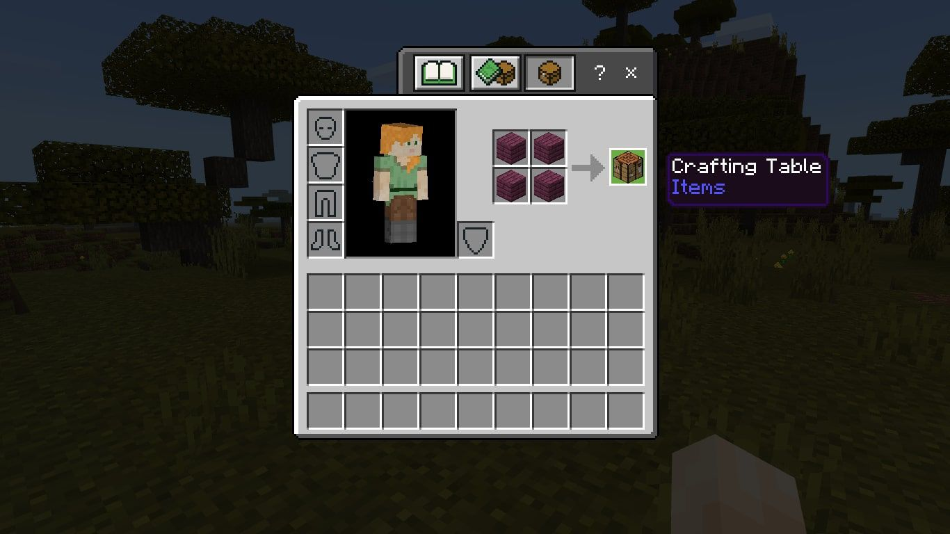 Make a crafting table using four wood planks.