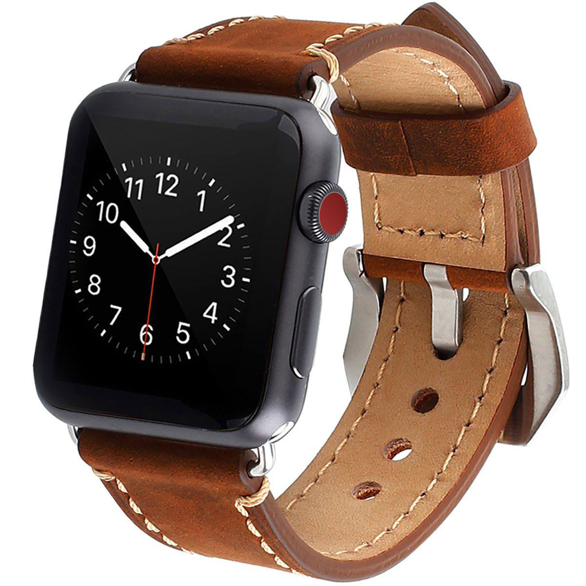 859ce3ff0 Apple Watch Band, iWatch Band Strap Premium Vintage Genuine Leather  Replacement Watchband with Secure Metal