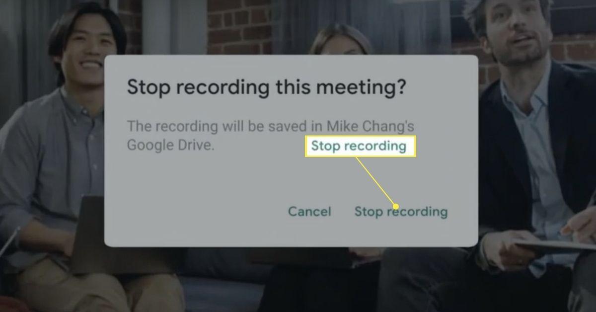 Stop recording confirmation pop-up on Google Meet.