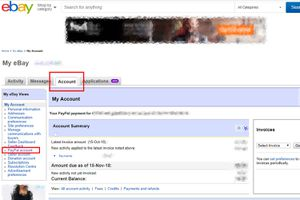 eBay account menu