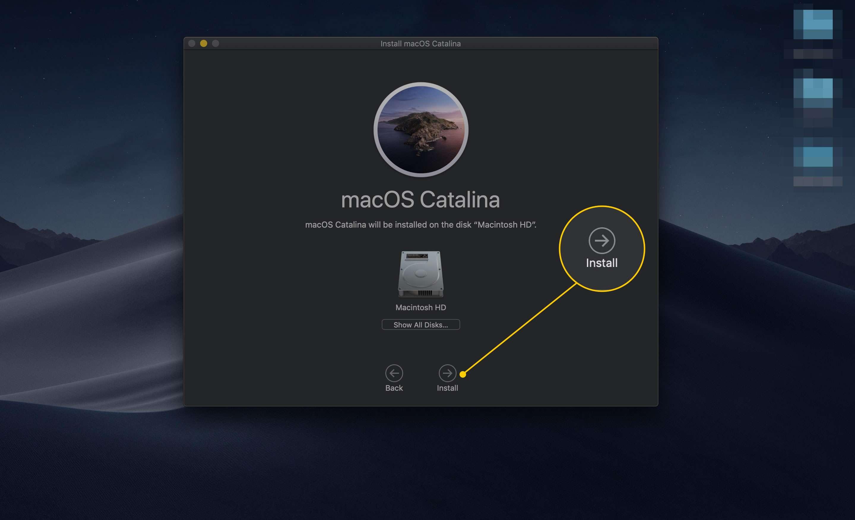 Install button in Install macOS Catalina app