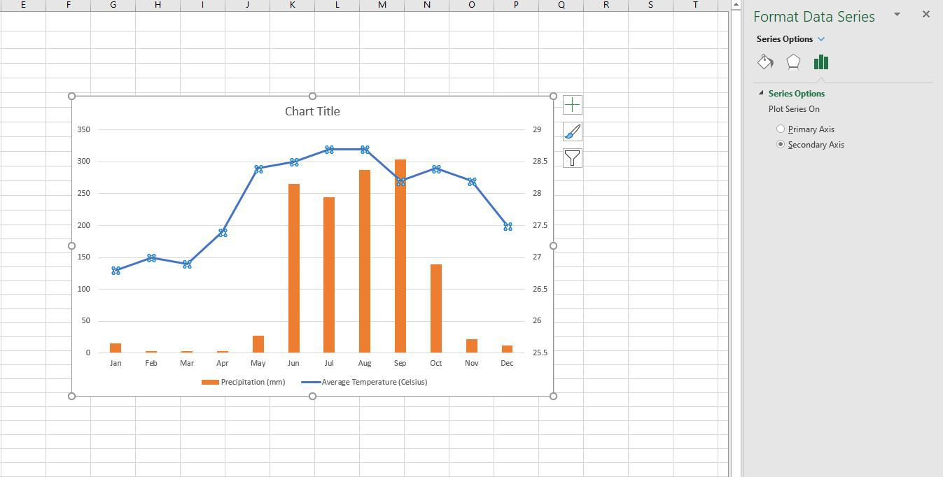 The Format Data Series panel in Excel