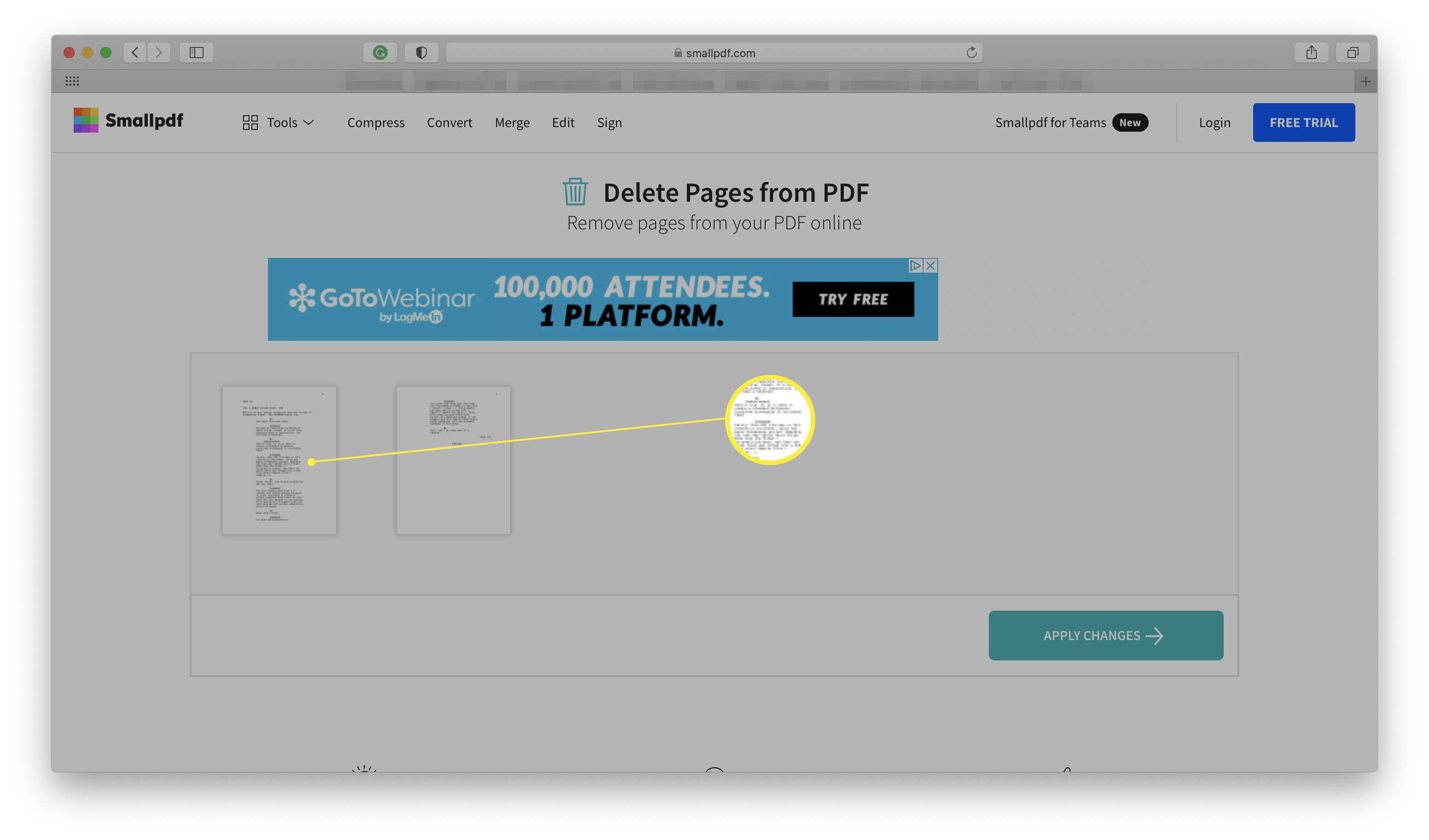 Smallpdf website with thumbnails of a PDF highlighted