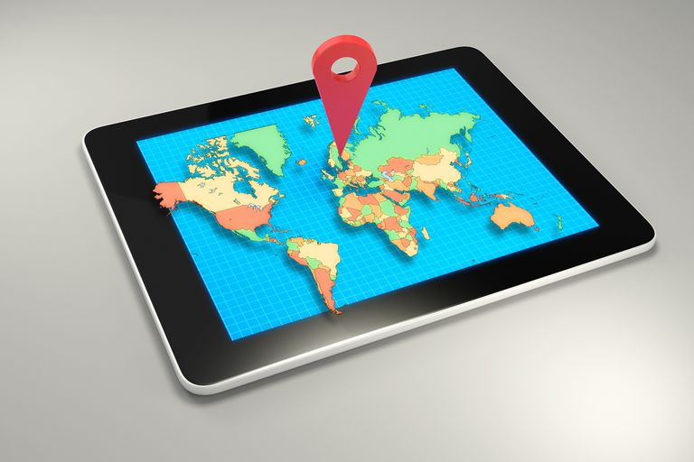 GPS marker on worldmap displayed on a tablet