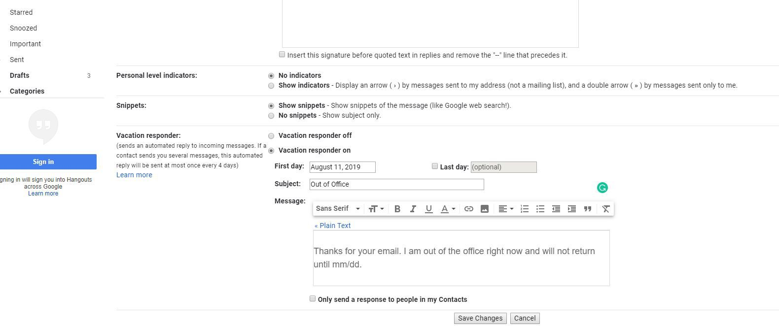 Vacation responder message in Gmail