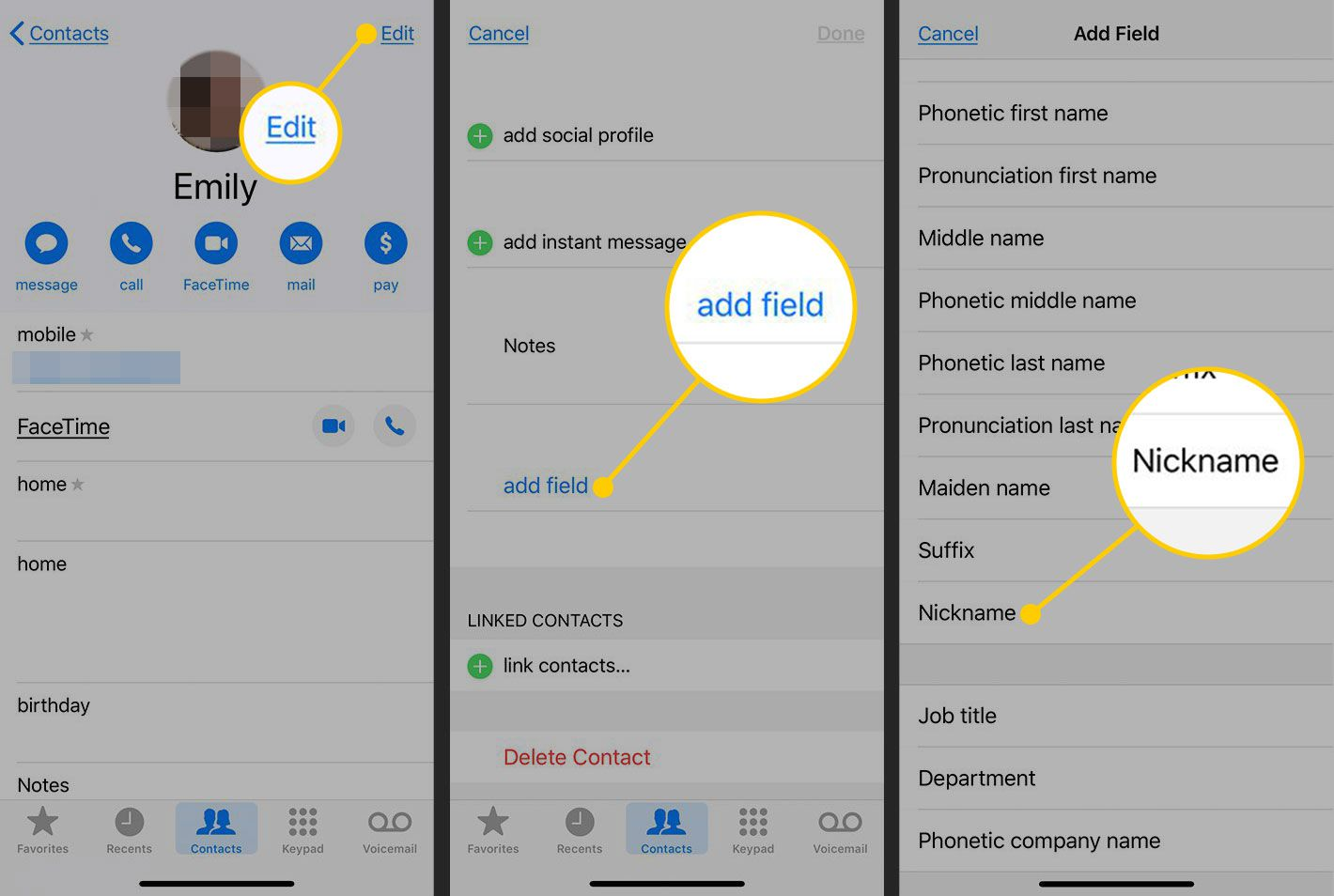 Adding a field to a contact on iOS