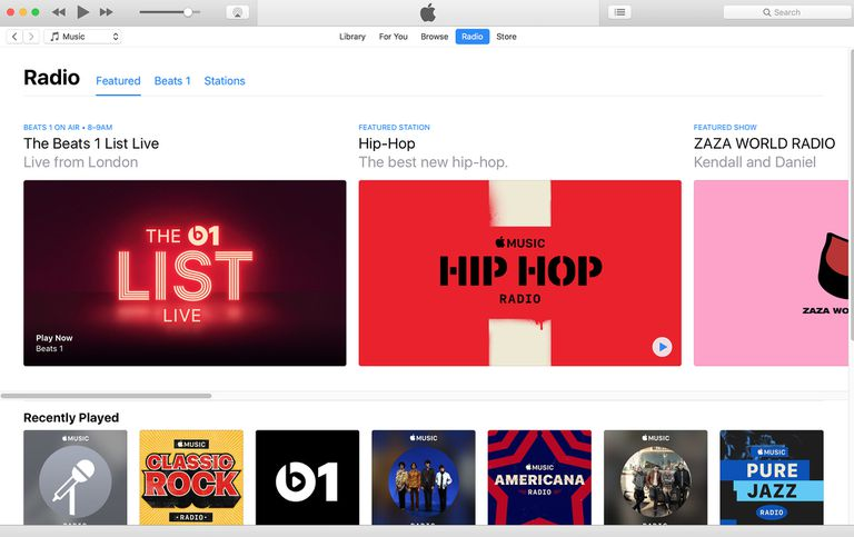 The main iTunes Radio screen