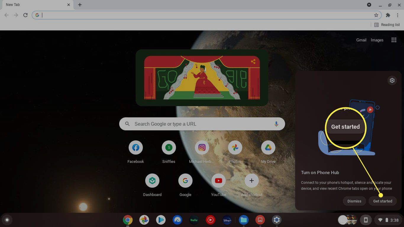 Get Started highlighted in Chromebook Phone Hub