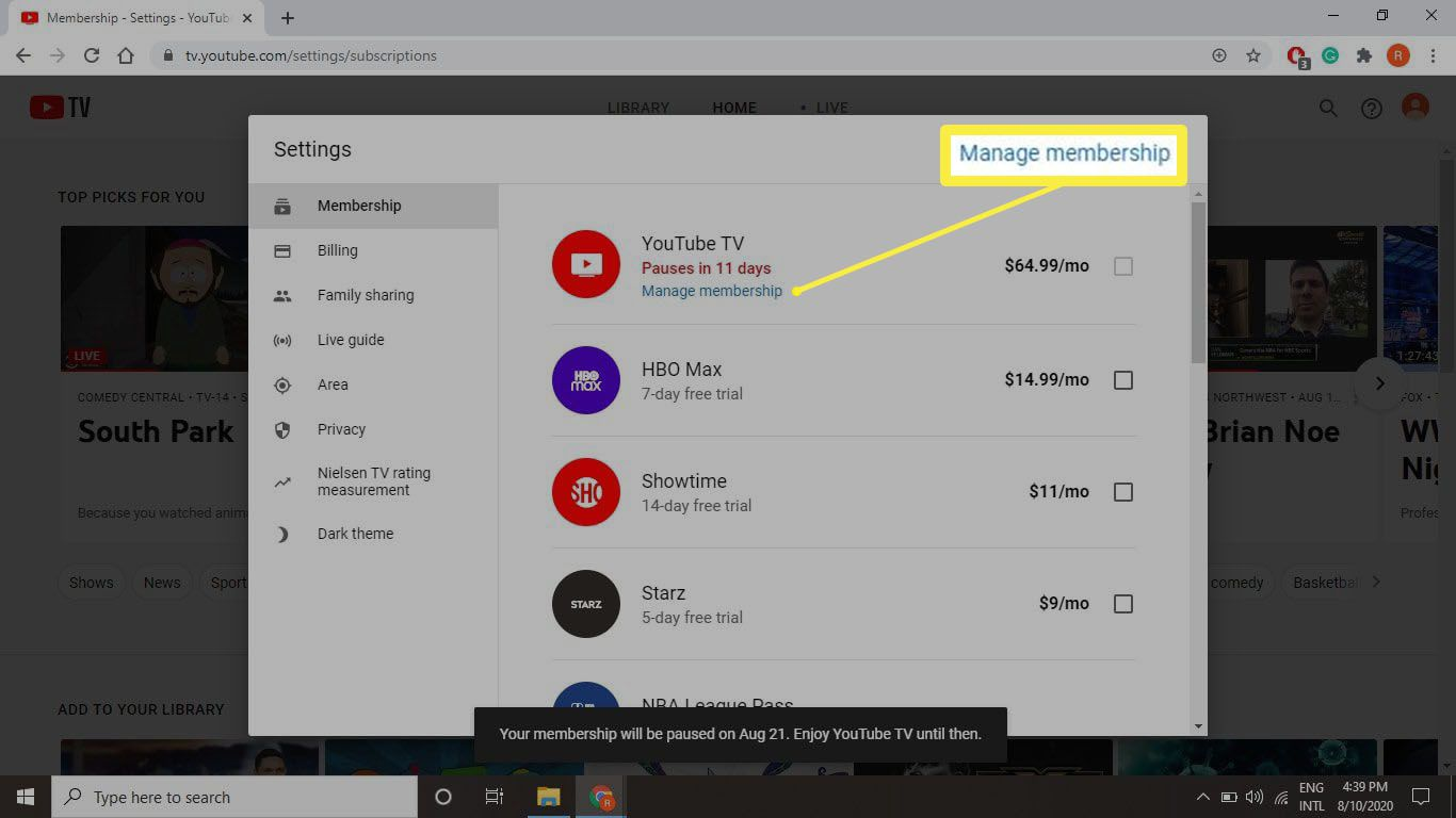 A screenshot of the Manage membership button on tv.youtube.com.