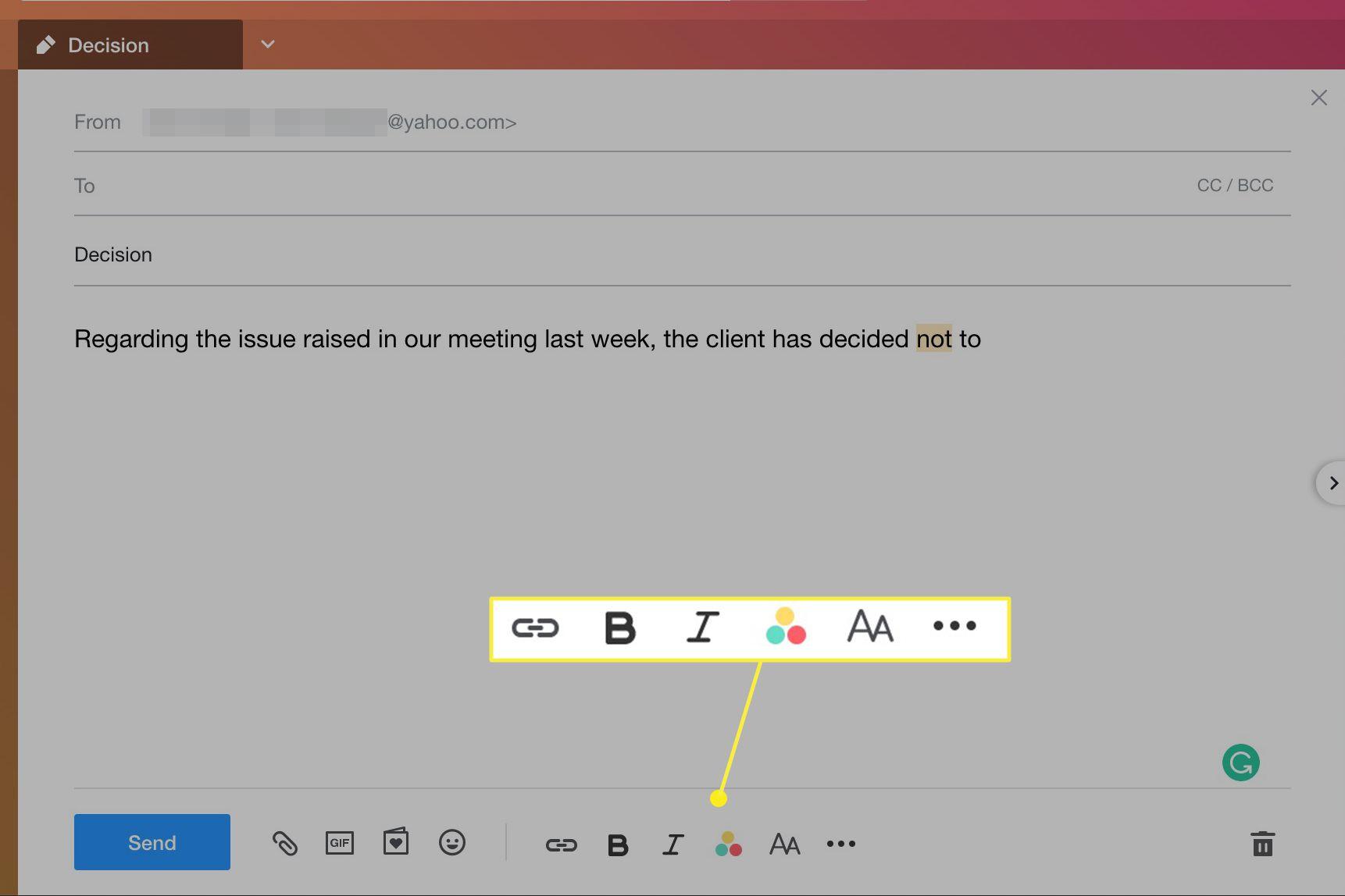 Yahoo Mail formatting toolbar