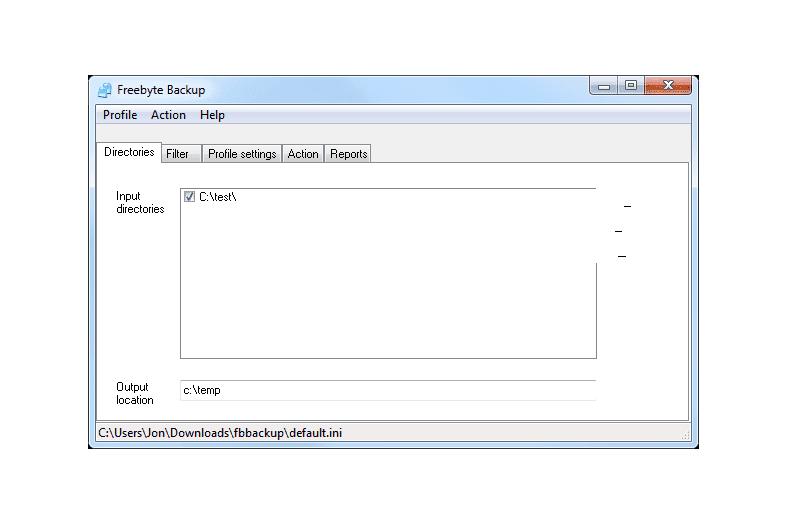 Freebyte Backup in Windows 7