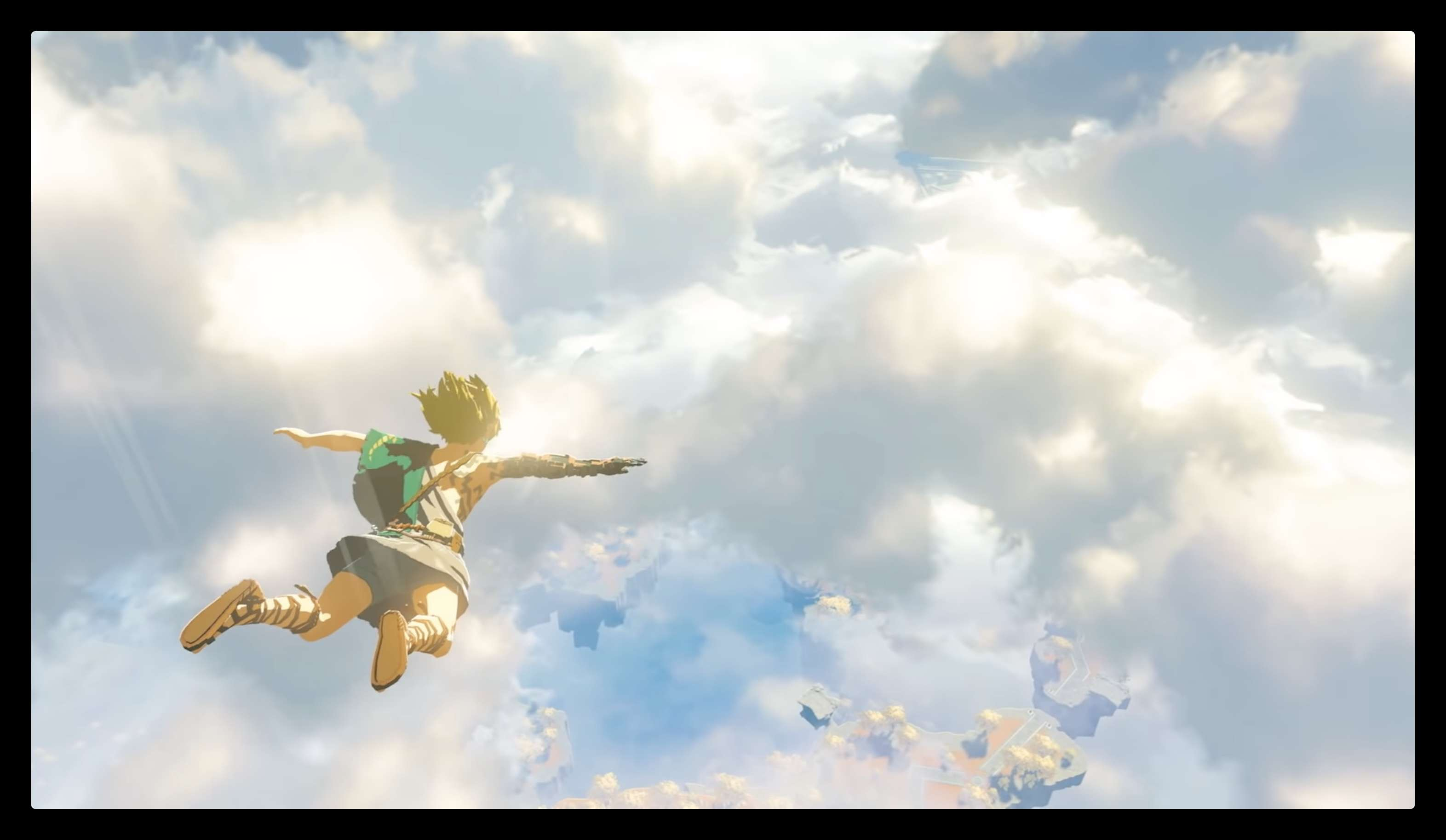 Link skydiving above floating islands in the sky in the Breath of the Wild sequel