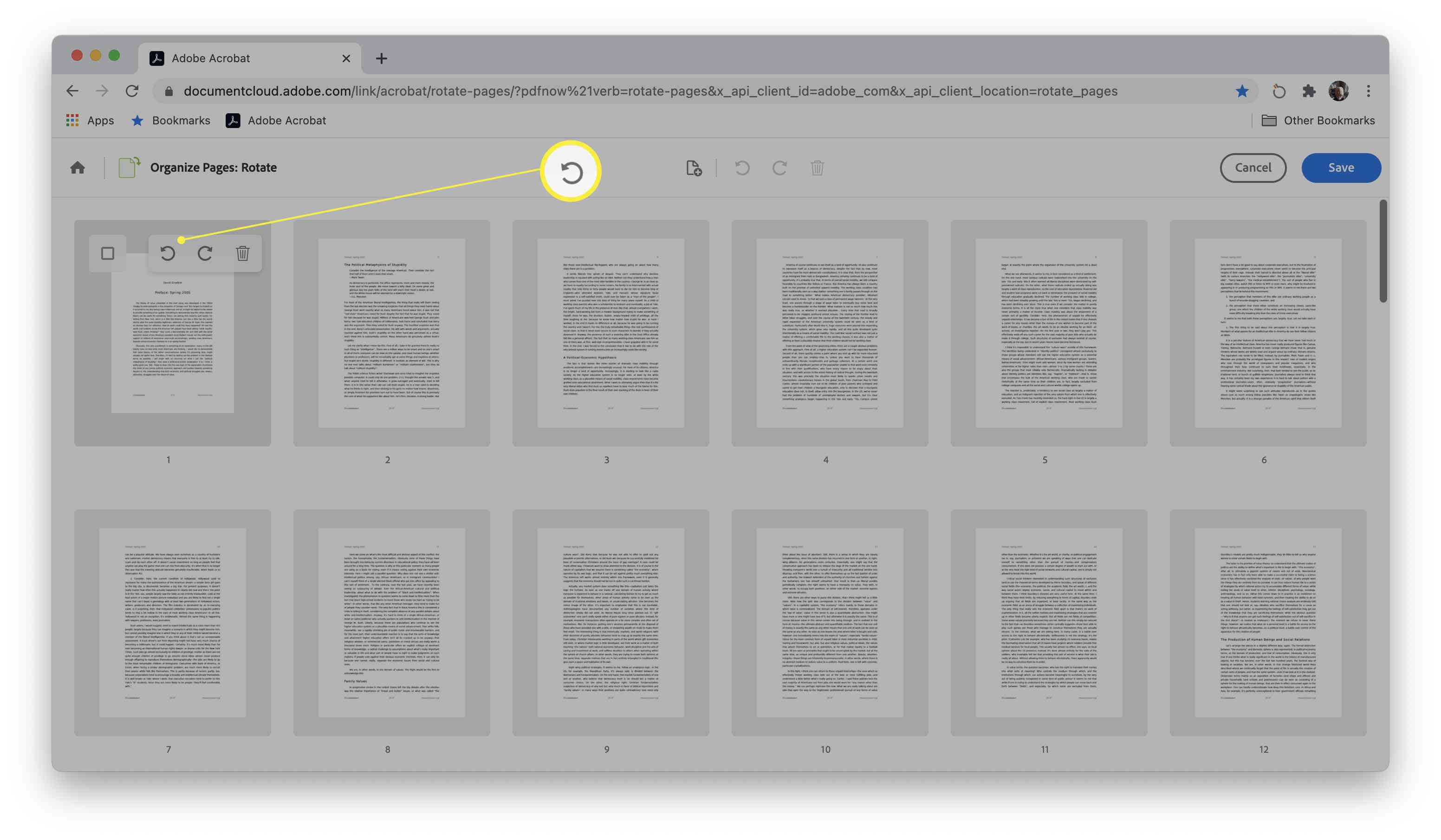 Adobe site for rotating PDF documents with the directional arrows highlighted