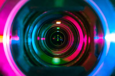 Extreme close-up photograph depicting the inside of a camera lens