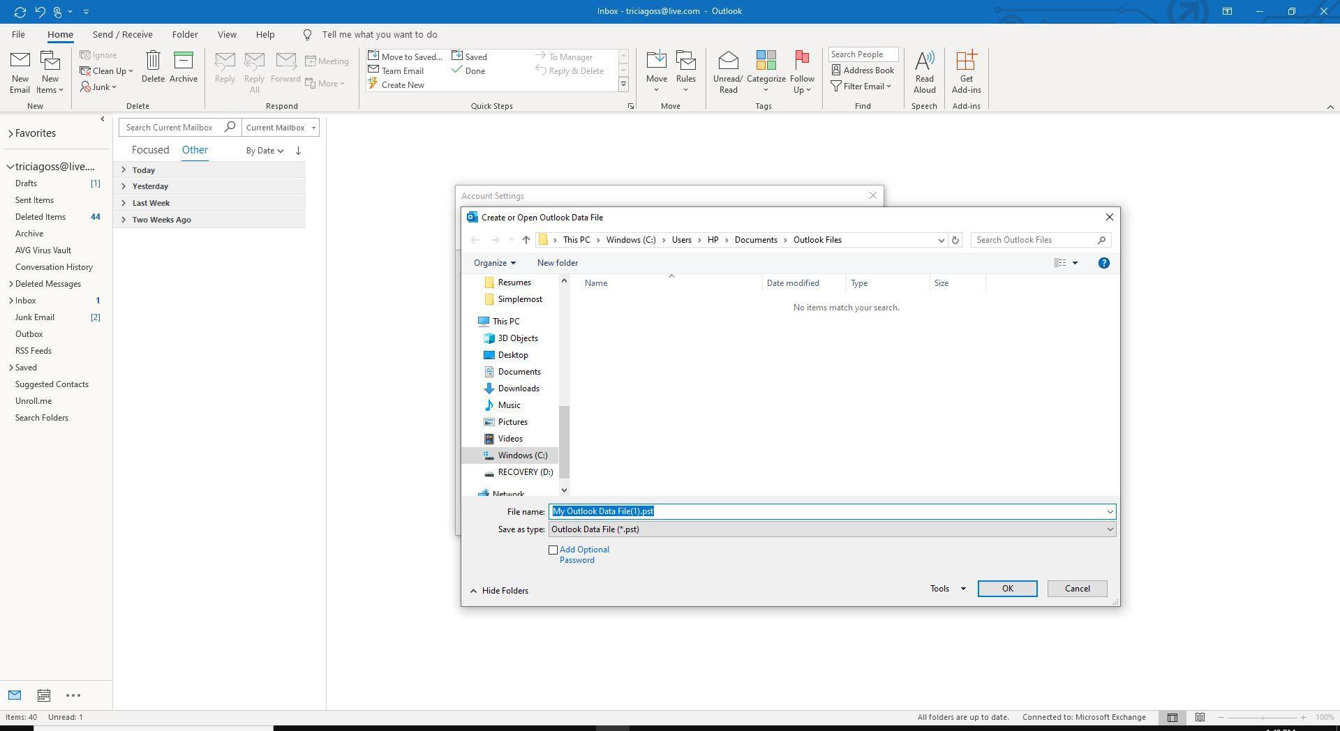 Screenshot of Create or Open Outlook Data File