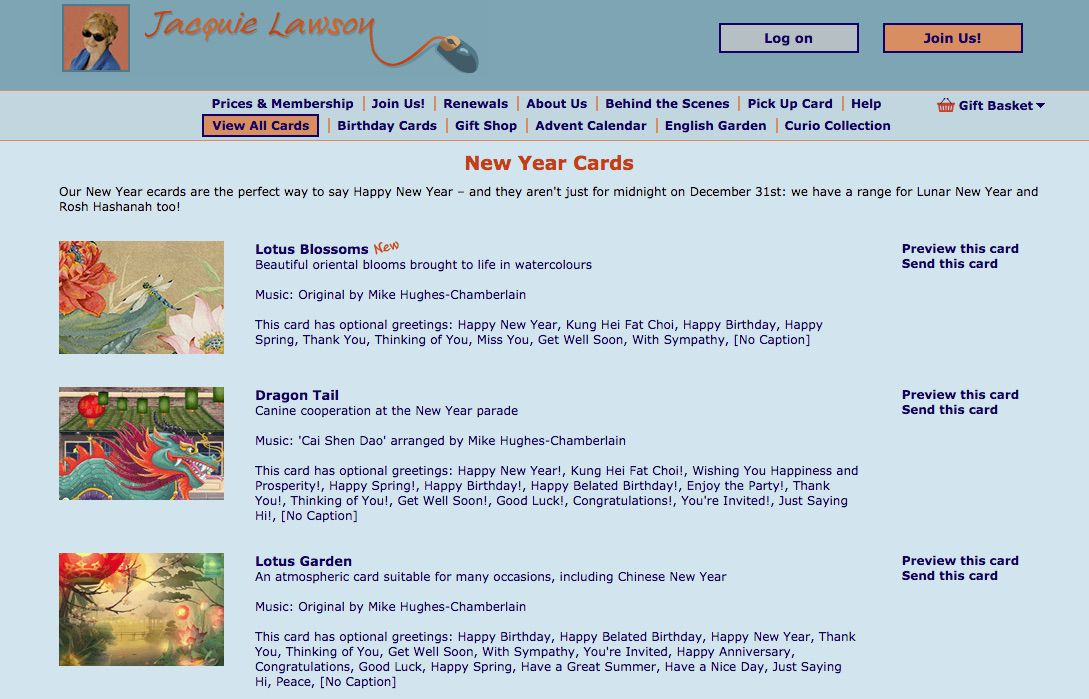 Jacquie Lawson website with images of e-cards for Chinese New Year