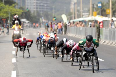 Atheletes during the competition of the Men's Marathon - T54 at Fort Copacabana on day 11 of the Rio 2016 Paralympic Games at on September 18, 2016 in Rio de Janeiro, Brazil.
