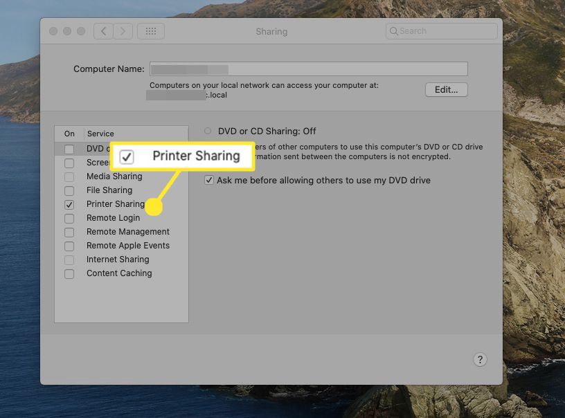 Place a checkmark next to the Printer Sharing item in the list of services.