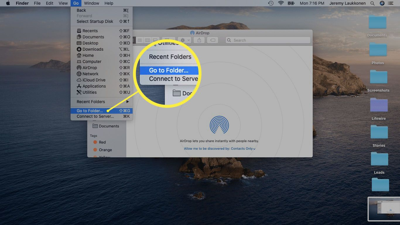 A screenshot of opening the go to folder option on a Mac.