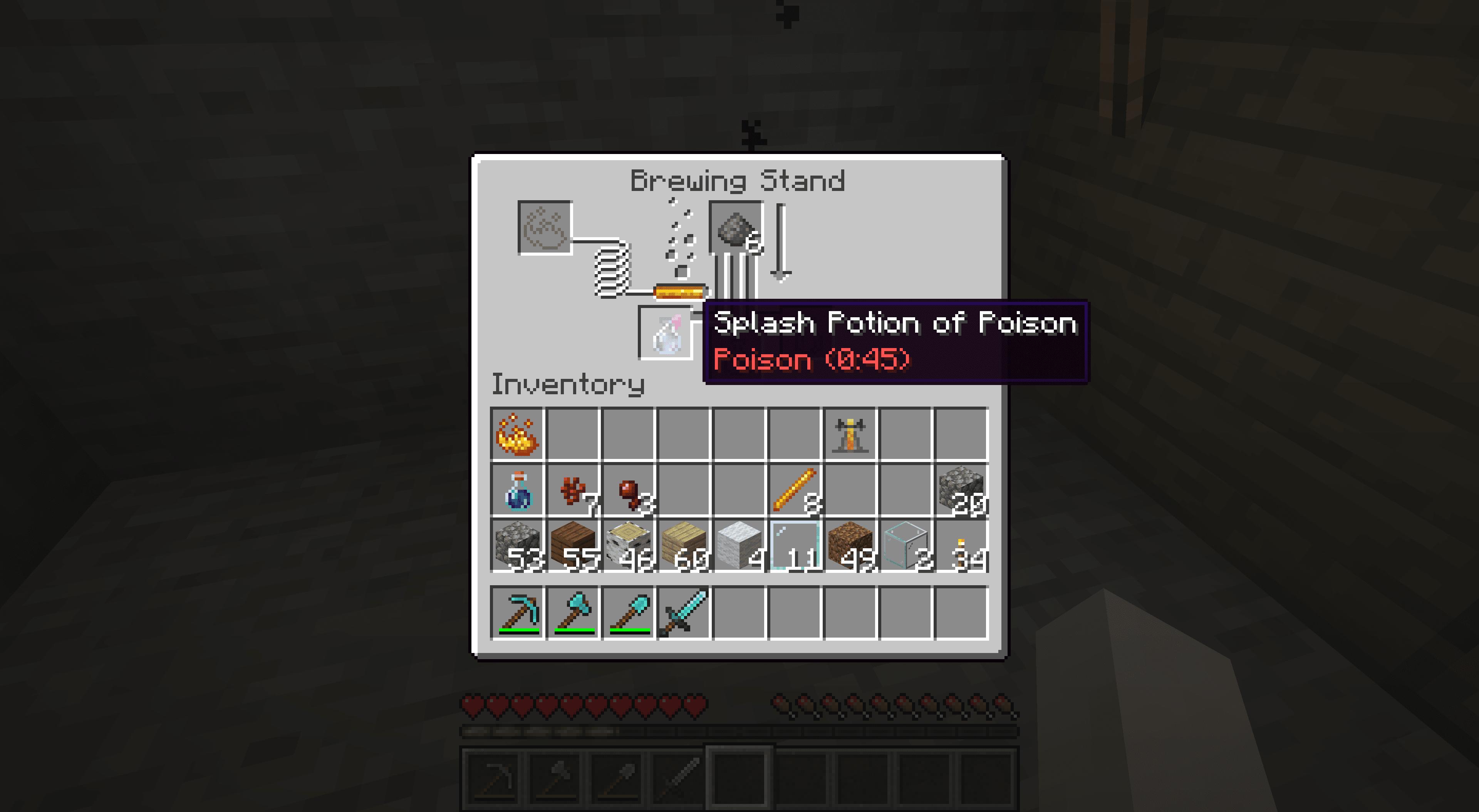 A poison splash potion in Minecraft.