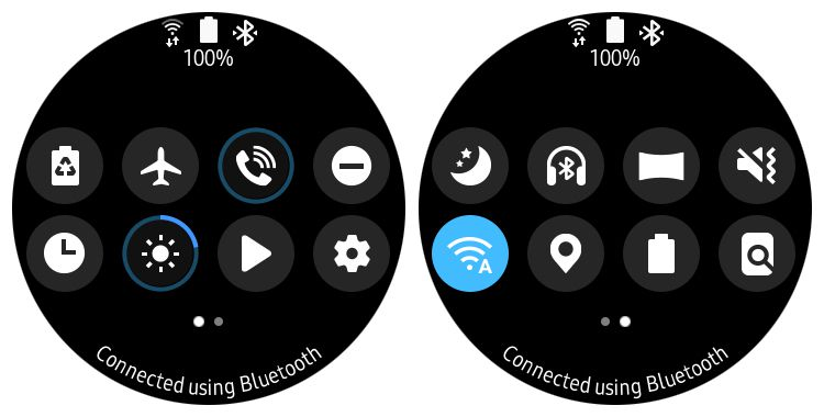 Screenshots of the quick settings menu