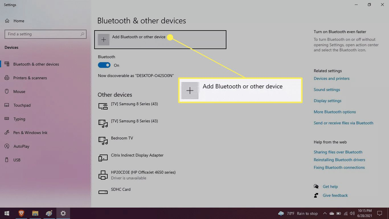 Bluetooth and other devices screen with Add Bluetooth or other devices highlighted
